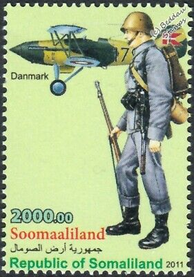 WWII Denmark Army Private Jutland Division Uniform Stamp/Hawker Nimrod Aircraft