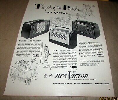 "{Original} Old Ad-<10""x14"">--[1950]--RCA VICTOR--<PORTABLE RADIO MODELS>"