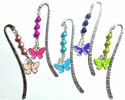 Butterfly Enamel Charm Pendant on Silver tone Bookmark Hand Beaded Colourful