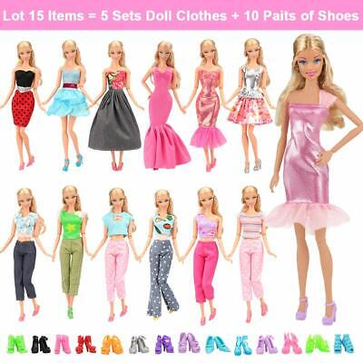 15 Set Barbie Doll Fashion Outfits Changing Clothes Shoes Casual Wear Girls Gift