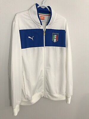 Puma Sport Lifestyle Mens XL White Zip Soccer Track Jacket w Italia Crest Badge