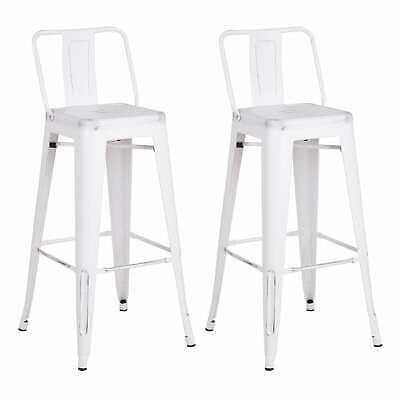 White Vintage Industrial Steel Bar Stools (Set of 2)