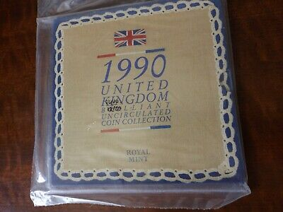1990 Uncirculated UK Year set BU 8-coin Royal Mint pack £1 to 1p (FREEPOST)