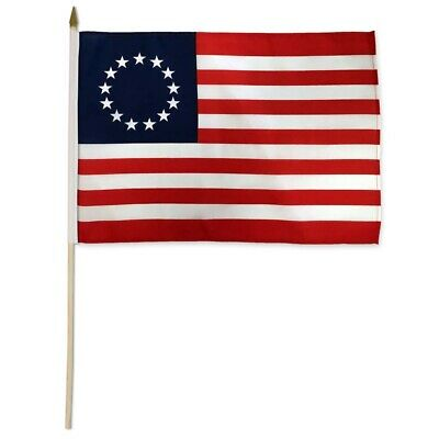 Betsy Ross Stick Flag 12x18in - 1776 - 13 Stars - Colonial America Flag