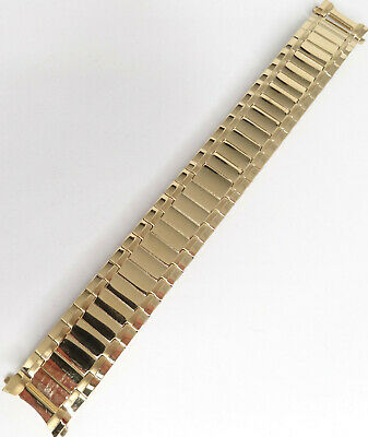 New Mens Gold Tone Stainless Steel Expansion 18mm Digital Watch Band Round Ends