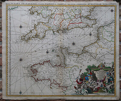 Antique Map-CHANNEL-ENGLAND-FRANCE-SEA CHART-Jaillot-c.1680