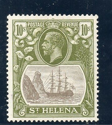 St Helena 1922 10/- grey & olive green mint. Cat £170. See also scan of reverse
