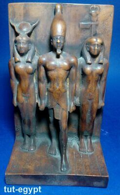 RARE ANCIENT EGYPTIAN STATUE stone  Osiris and Nephthys and Isis 1375 BC