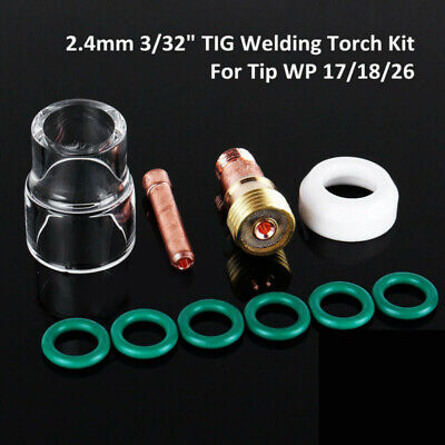 10Pcs TIG Welding Torch Stubby Gas Lens #12 Pyrex Glass Cup Kit For WP-17/18/26