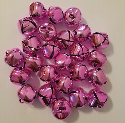 "Lot Of 25 Piezas Rosa Brillante Metal Campanillas 25mm 1"" Manualidades de"