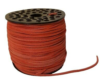 "Genuine Suede Leather Lace Jewelry Cord 1/8"" 3mm x 100 yds Large Spool Red"