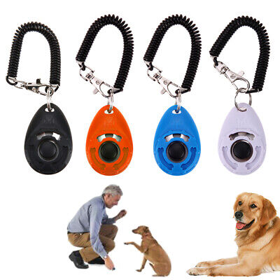 Dog Training Clicker Click Button Trainer Pet Cat Puppy Obedience Aid Wrist Tool