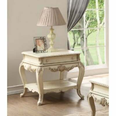 Wooden End Table With One Drawer And Bottom Shelf, Antique White