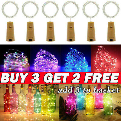 (Buy 3 Get 2 Free) 10/20 LED Wine Bottle Fairy String Lights Battery Cork Shaped