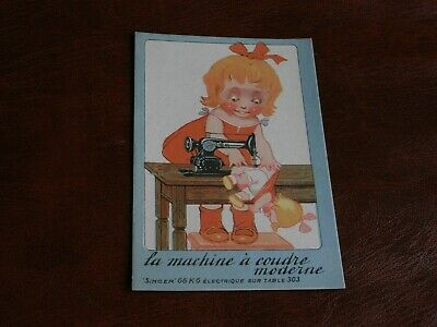 Original Advertising Children Postcard - Singer Sewing Machines - Doll.
