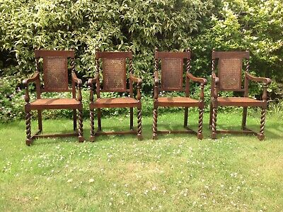 Four Beautiful Bergere Style Oak Carver Chairs