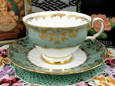 Grosvenor Fancy Gold Gilt Floral Designs Gray Tea Cup And Saucer