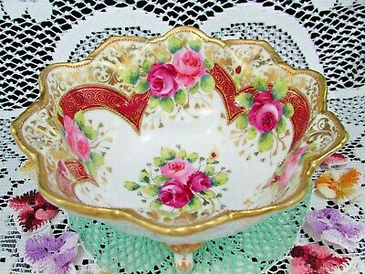 Nippon Hand Painted Pink Roses Beaded Gold Small Footed Bowl