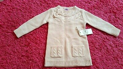 F&F Girls Pink Bow Knitwear Jumper Top  Age 18- 24  Months