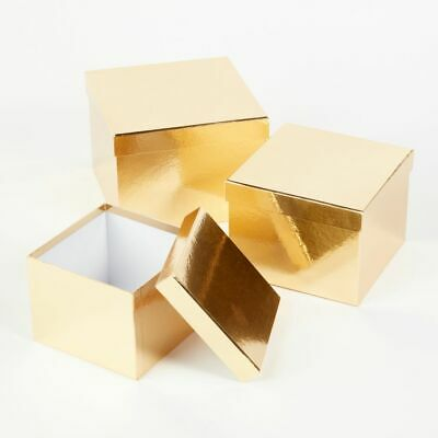 SET OF 3 SQUARE OASIS METALLIC SHEEN LINED HAT BOXES GOLD Flowers Gifts Crafts