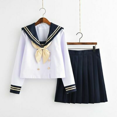 Japanese Sailor Suits Navy Preppy Styles School Girls Uniforms Top And Skirt New