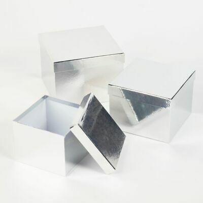 SET OF 3 SQUARE OASIS METALLIC SHEEN LINED HAT BOXES SILVER Flowers Gifts Crafts
