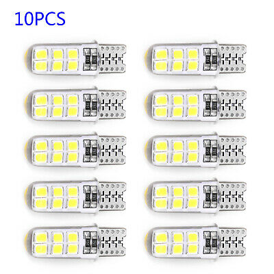 10 PCS 2W 194 W5W T10-2835-12SMD COB LED Car CANBUS License Plate Safety Lights