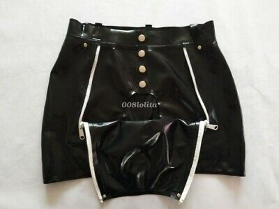 Latex Catsuit Rubber Gummi Two Zipper Shorts Pants Sexy Club Wear Customize .4mm