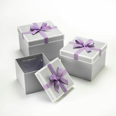 SET OF 3 SQUARE OASIS STEPHY LINED HAT BOXES LILAC BOW Flowers Gifts Crafts