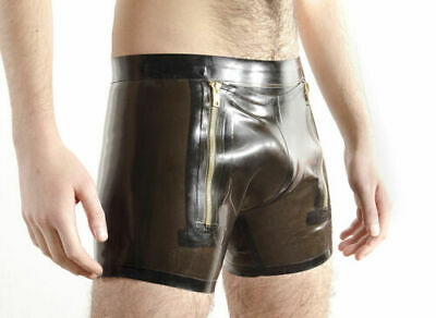 Latex Catsuit Rubber Gummi Transparent Male Club Wear Shorts 2 Zip Customiz .4mm