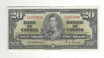 1937 Bank of Canada BC-25a, $20 Osb/Tow SN AE 1075006
