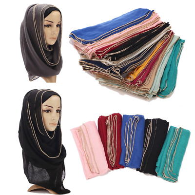 Women's Ladies Muslim Chain Edges Scarf Women Plain Scarves Shawls Hijab Pretty