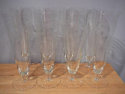 8 Crystal Pilsner Beer Parfait Glasses circa 1920 etched crystal