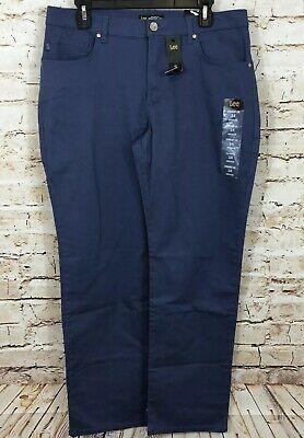 Lee pants womens 14 blue new relaxed fit straight leg mid rise stretch BX2