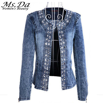 S-2XL Rhinestone Sequins Women's Denim Jackets Spring Autumn Vintage Jeans Coat