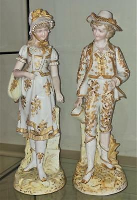 Beautiful Pair of Large German Antique Finely Hand Gilded Bisque Children C 1860