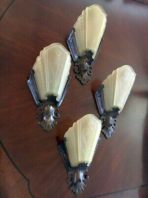 4 Antique Art Deco Virden Wall Fixture Sconces Amber Glass Slip Shade Gothic