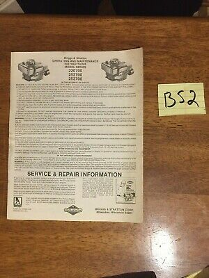 Briggs & Stratton Engine Operating & Maintenance Instructions 220700 252700