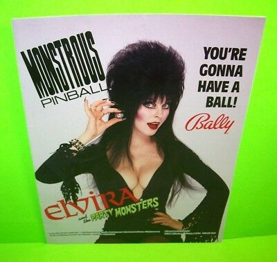 ELVIRA And The Party Monsters Pinball Flyer 1988 Original POSTER Halloween NM