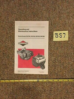 Briggs & Stratton Engine Operating & Maintenance Instructions 252700 253700