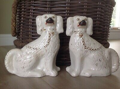 Lovely Pair Antique Vintage Staffordshire Mantle Wally Dogs 22cm Tall