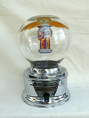 Penny Chrome Ford Gumball  Machine rounded front Glass Globe Kiwanis Club decal