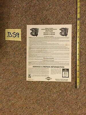 Briggs & Stratton Engine Operating & Maintenance Instructions 422700 - 422799