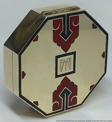 Heavy 51.8g Very Art Deco Cartier Signed Numbered 14k Gold Enamel Box antique
