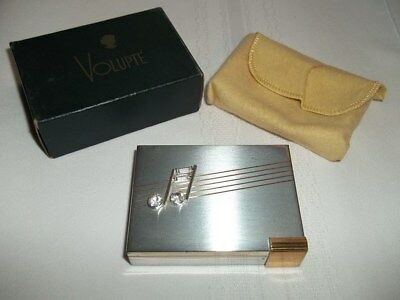 Vintage 1950s VOLUPTE RHINESTONE MUSIC NOTE COMPACT with Original Pouch and Box