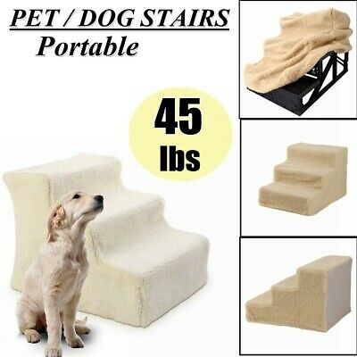 Folding Pet Stairs Cats step Ladder Dog Climb Soft Ramp Beige For High Tall Bed