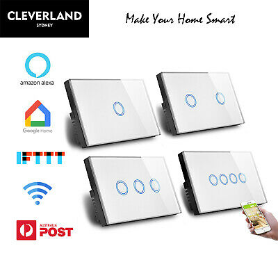 AU Approved Smart wifi Touch Light Switch 1/2/3/4 Glass Panel Google Alexa APP