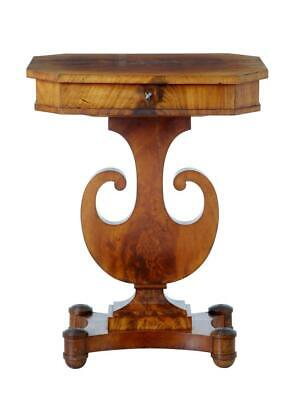 19Th Century Flame Mahogany Lyre Form Sewing Table