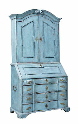 Late 18Th Century Swedish Oak Painted Bureau Bookcase