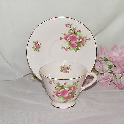 Vintage Pink Cup & Saucer Tuscan Plant 51224 Floral England Bone China Flowers
